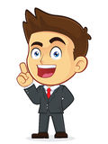Businessman Pointing Upwards. Clipart Picture of a Male Businessman Cartoon Character Pointing Upwards Royalty Free Stock Photography