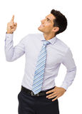 Businessman Pointing Upwards Stock Photography