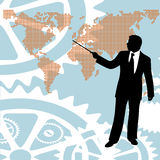 Businessman pointing world map stock image