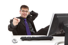 Businessman is pointing at you Royalty Free Stock Photography
