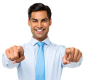Businessman Pointing At You With Both Hands Royalty Free Stock Photo