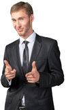 Businessman pointing on you Stock Photos