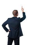 Businessman points finger up Royalty Free Stock Images