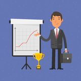 Businessman points on flip-chart with graph Stock Photos