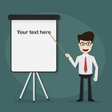 Businessman points on flipchart. Royalty Free Stock Images