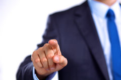 Businessman points his finger at the target Stock Photography