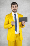 Businessman points to the envelope Stock Photo