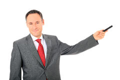 Businessman points to the side Stock Image