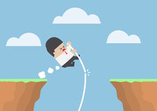 Businessman pole vault across the cliff but he fail Royalty Free Stock Photo
