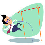 Businessman pole vault height business theme sports Stock Photo