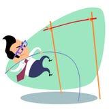 Businessman pole vault height business theme sports stock photo