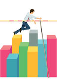 Businessman pole vaulting on bar chart Stock Images