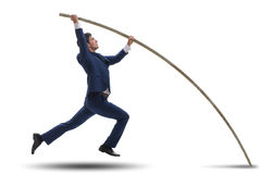 The businessman in pole vaulting concept. Businessman in pole vaulting concept Royalty Free Stock Image