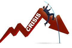 The businessman pole vaulting over crisis in business concept Royalty Free Stock Image