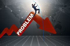 The businessman pole vaulting over problems in business concept Stock Photography