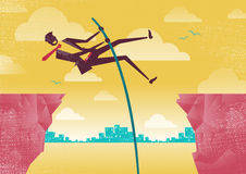 Businessman Pole Vaults from Clifftop to Safety. Stock Photos