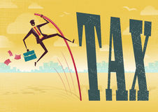 Businessman Pole Vaults over the Tax problem. Stock Photo