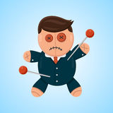 Businessman or politician doll voodoo vector flat  illustration. Political or business competitor Stock Image