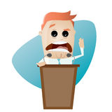 Businessman or politician is giving a stirring speech. Illustration of a businessman or politician is giving a stirring speech Stock Photography
