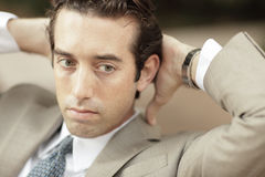 Businessman pondering Stock Photo