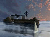 Businessman is being stalked by a shark. A businessman ponders his situation as he stands near his desk on a tiny stone island surrounded by an ocean.  He`s Royalty Free Stock Image