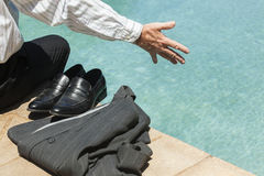 Businessman Pool Summer Royalty Free Stock Photography
