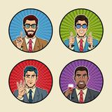 Businessman pop art icons. Vector illustration graphic design suit and elegance style vibrant colors Royalty Free Stock Image