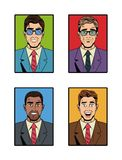 Businessman pop art icons. Vector illustration graphic design suit and elegance style vibrant colors Stock Image