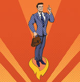 Businessman in Pop Art Style Star Up Concept Royalty Free Stock Photo