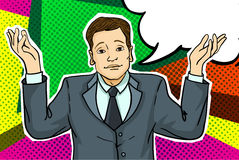 Businessman in pop art style. Royalty Free Stock Photography