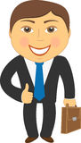 Businessman with portfolio and showing thumb up. Isolated cartoon businessman with portfolio and showing thumb up Stock Photography
