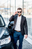 Businessman portrait near the car Royalty Free Stock Photography