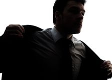 Businessman portrait silhouette getting ready Royalty Free Stock Images