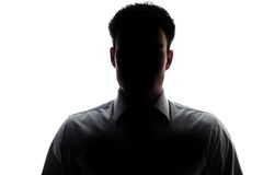 Businessman portrait silhouette wearing a shirt and tie Stock Photos