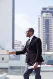 businessman portrait on skyscrapers background Stock Photo
