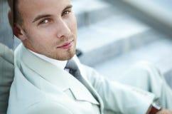 Businessman portrait on stairs Stock Photos