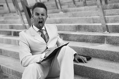 Businessman portrait on stairs Royalty Free Stock Photos