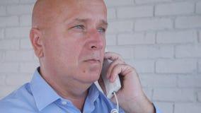 Businessman Image Talk Business Using Telephone Communication stock photo
