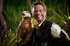 Businessman posing with badger Royalty Free Stock Images