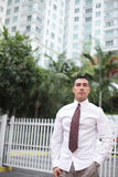 Businessman posing at downtown Miami Royalty Free Stock Photos