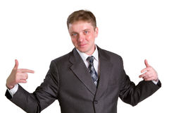 Businessman posing in a suit isolated in white Stock Image