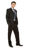 Businessman posing in a suit isolated in white Royalty Free Stock Image