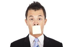Businessman with the post it Royalty Free Stock Photo