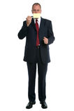 Businessman Post It mouth Stock Image