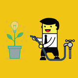 Businessman pouring lightbulb tree. Royalty Free Stock Images