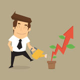 Businessman pouring water to grow up rising arrow Stock Photos