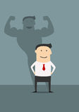 Businessman with powerfull muscular shadow Royalty Free Stock Images