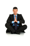Businessman practice yoga Royalty Free Stock Photo