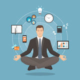Businessman practicing meditation. Businessman practicing mindfulness meditation, he is clearing his mind, releasing stress and expressing his potential; yoga Stock Photography
