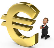 Businessman praying on the euro. 3d businessman praying on the euro Stock Photos